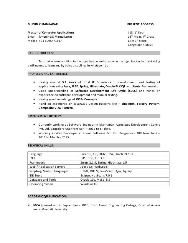 resume munin 5yrs java oracle