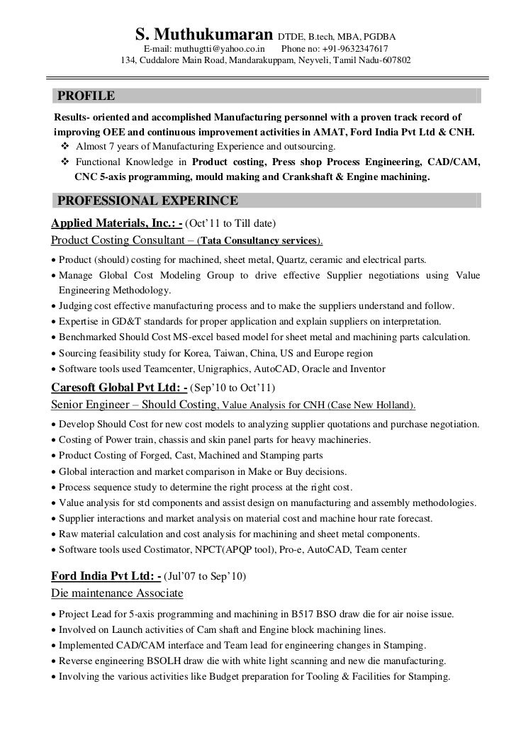 Resume Muthu Automobile Product Costing 7years