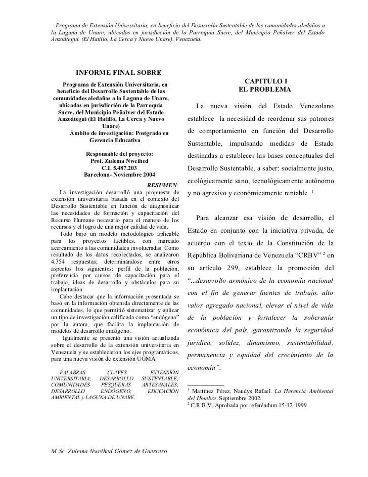 Programa de Extensión Universitaria, en beneficio del Desarrollo Sustentable de las comunidades aledañas a la Laguna de Un...