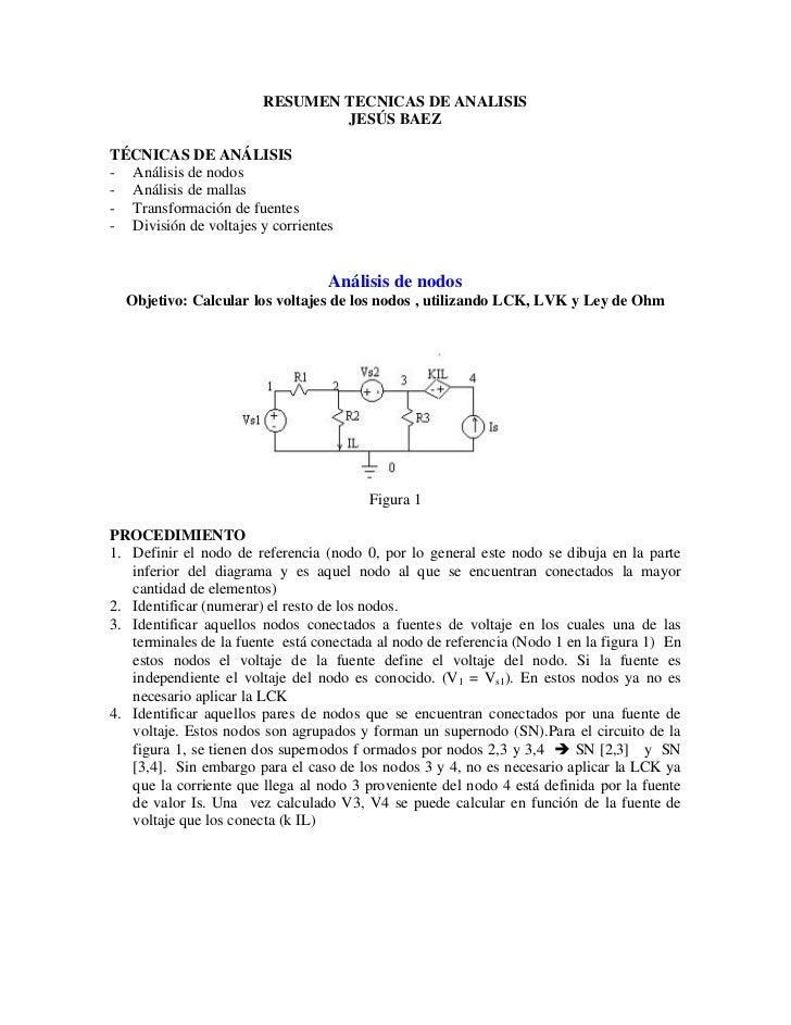 RESUMEN TECNICAS DE ANALISIS                                JESÚS BAEZTÉCNICAS DE ANÁLISIS- Análisis de nodos- Análisis de...