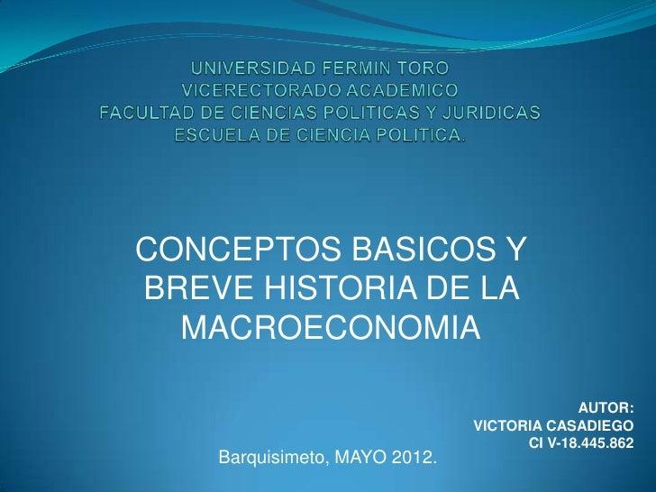 CONCEPTOS BASICOS YBREVE HISTORIA DE LA  MACROECONOMIA                                            AUTOR:                  ...