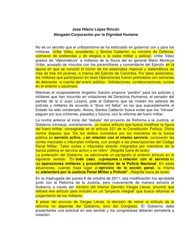 José Hilario López Rincón          Abogado-Corporación por la Dignidad HumanaNo es un secreto que el uribisantismo se ha e...