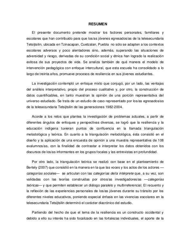 RESUMEN   El presente documento pretende mostrar los factores personales, familiares yescolares que han contribuido para q...