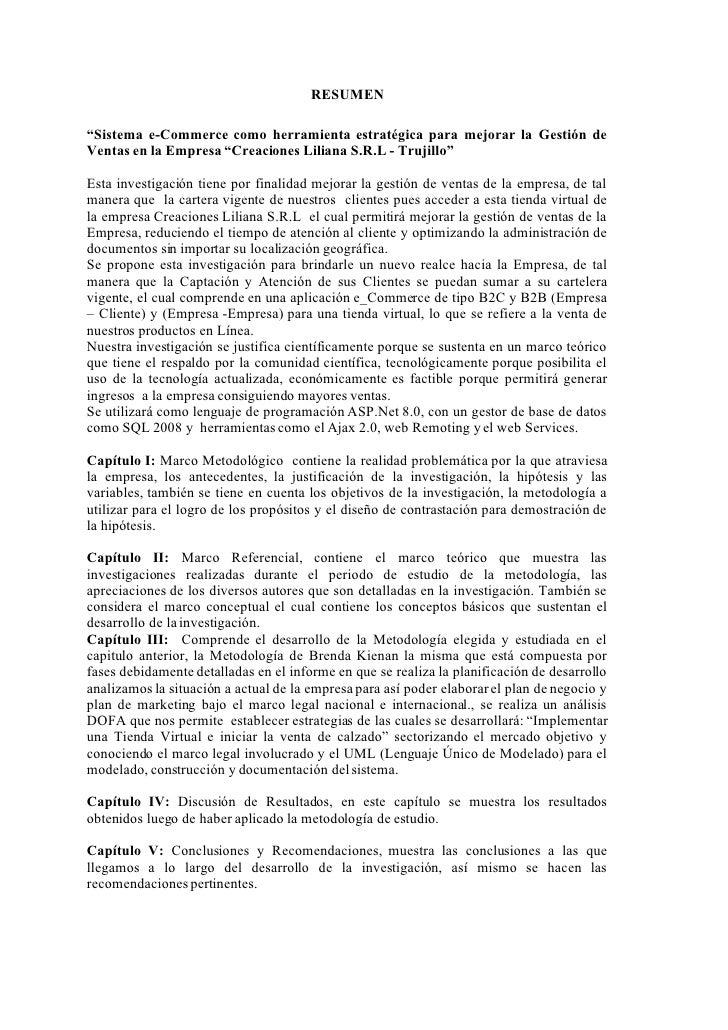 """RESUMEN  """"Sistema e-Commerce como herramienta estratégica para mejorar la Gestión de Ventas en la Empresa """"Creaciones Lili..."""
