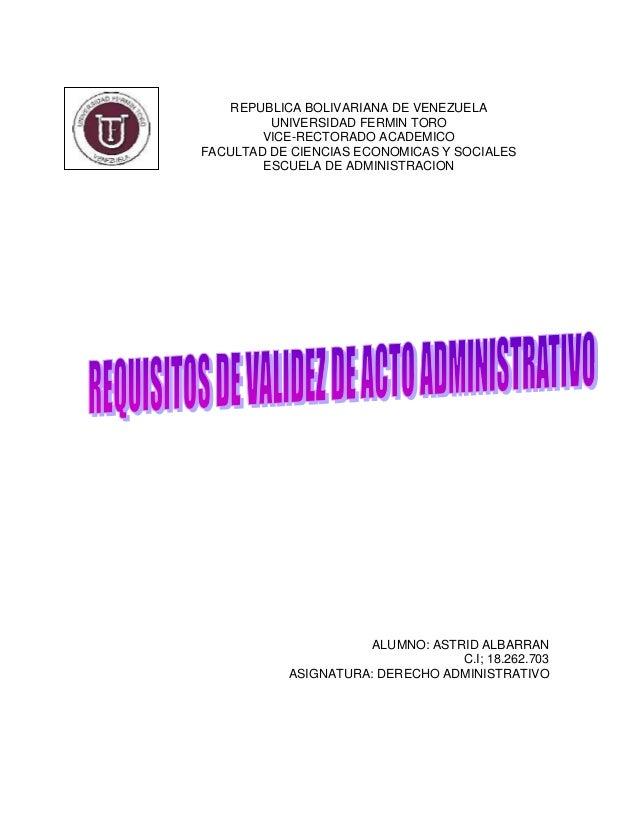 REPUBLICA BOLIVARIANA DE VENEZUELA UNIVERSIDAD FERMIN TORO VICE-RECTORADO ACADEMICO FACULTAD DE CIENCIAS ECONOMICAS Y SOCI...