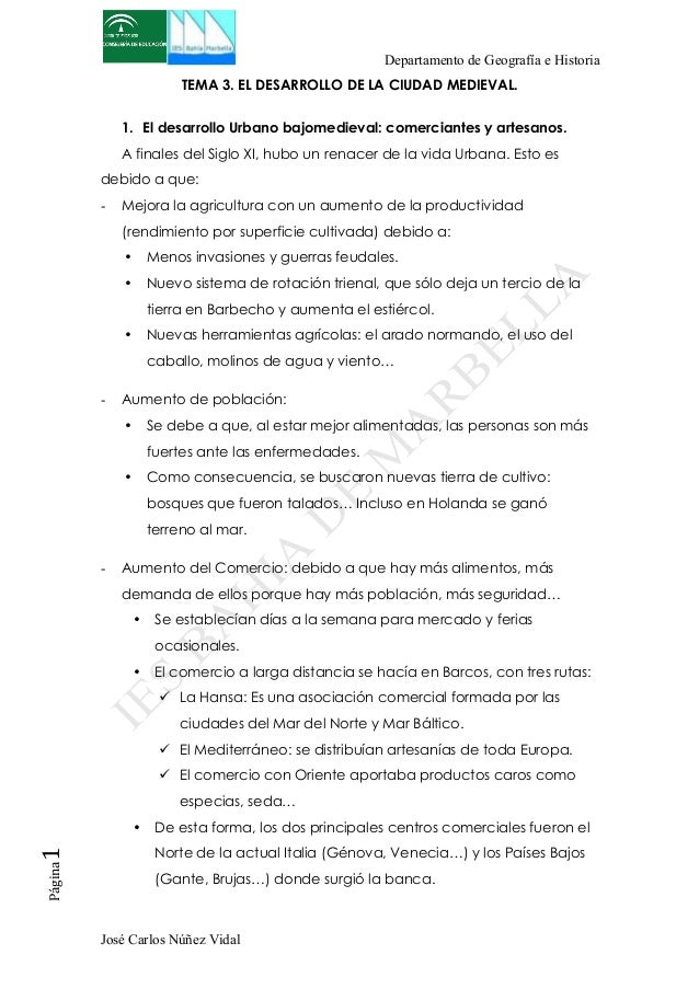 Departamento de Geografía e Historia  TEMA 3. EL DESARROLLO DE LA CIUDAD MEDIEVAL.  1. El desarrollo Urbano bajomedieval: ...