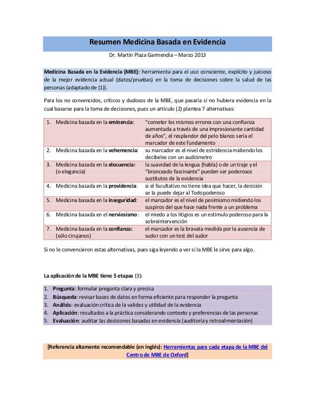 Resumen Medicina Basada en Evidencia Dr. Martín Plaza Garmendia – Marzo 2013 Medicina Basada en la Evidencia (MBE): herram...