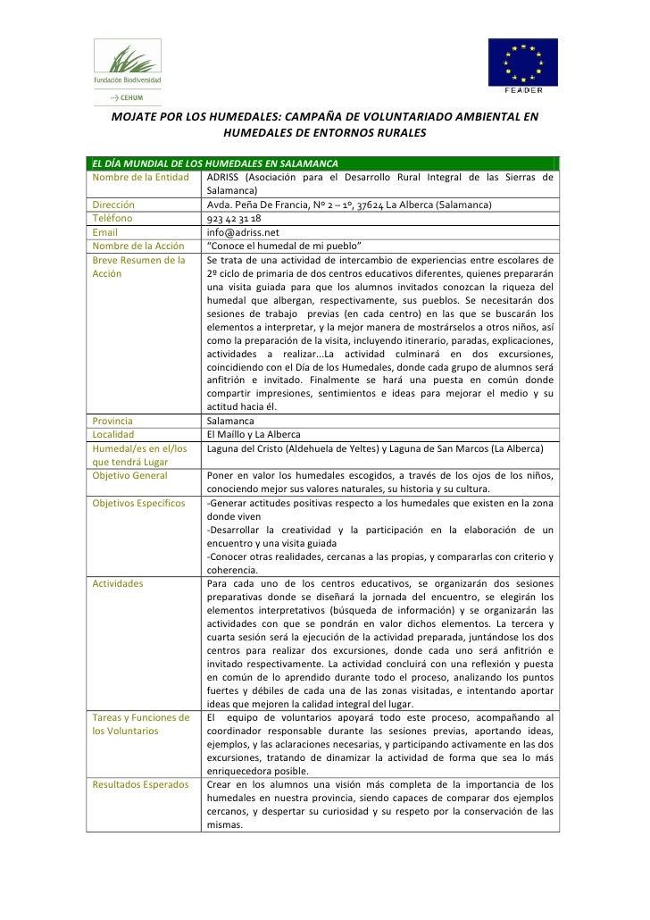 MOJATE POR LOS HUMEDALES: CAMPAÑA DE VOLUNTARIADO AMBIENTAL EN                     HUMEDALES DE ENTORNOS RURALESEL DÍA MUN...