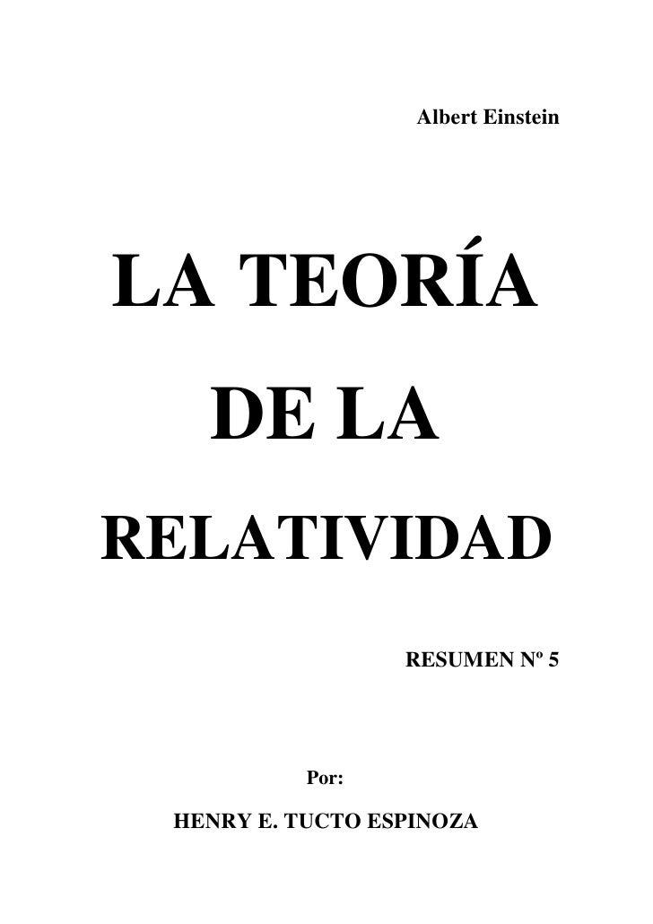 henry tucto teor 237 a de la relatividad einstein