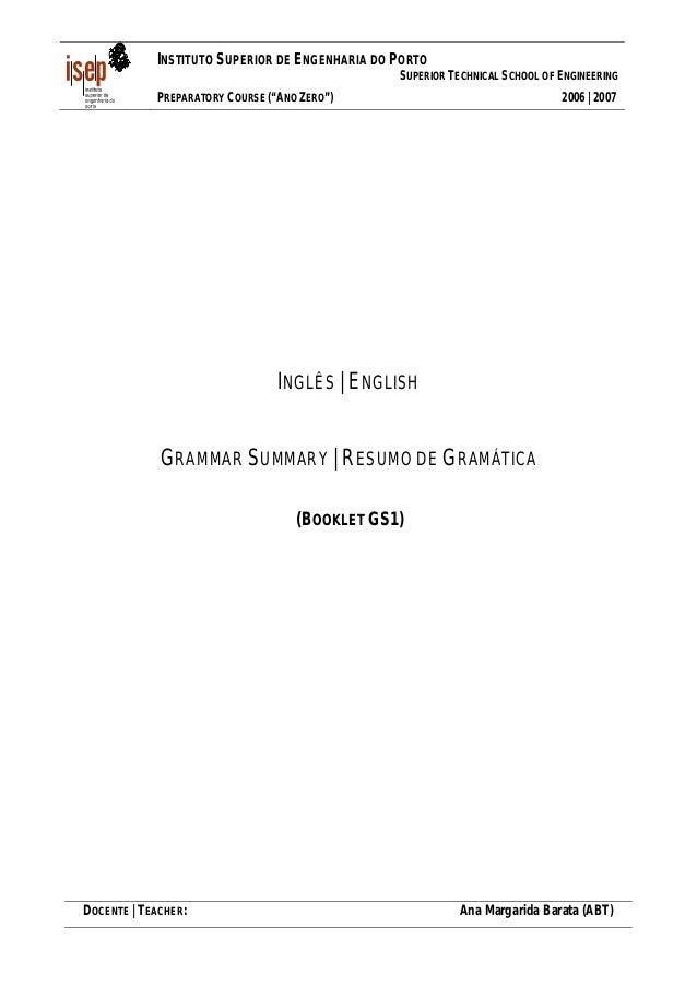"INSTITUTO SUPERIOR DE ENGENHARIA DO PORTO SUPERIOR TECHNICAL SCHOOL OF ENGINEERING PREPARATORY COURSE (""ANO ZERO"")  2006 |..."