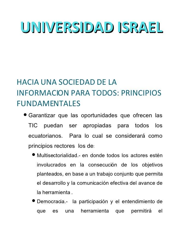 UNIVERSIDAD ISRAEL   Diplomado Superior en Docencia con el             empleo de las Tecnologías de la   Información y la ...