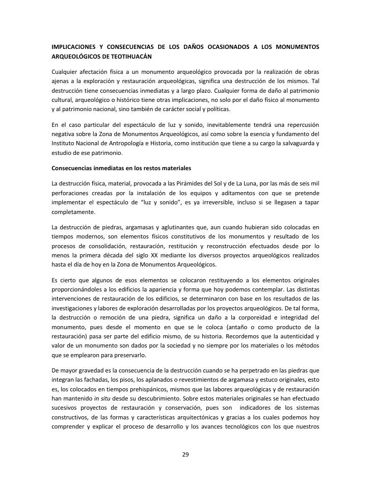 Resumen dictamen da os en teotihuacan Espectaculo de luz y sonido en teotihuacan