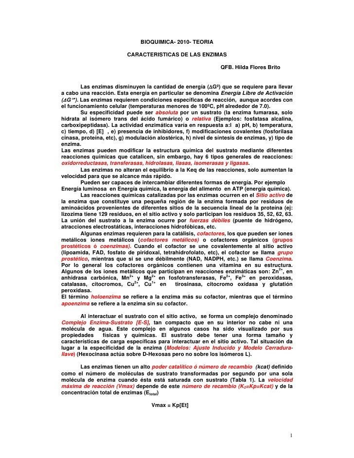 BIOQUIMICA- 2010- TEORIA                            CARACTERISTICAS DE LAS ENZIMAS                                        ...