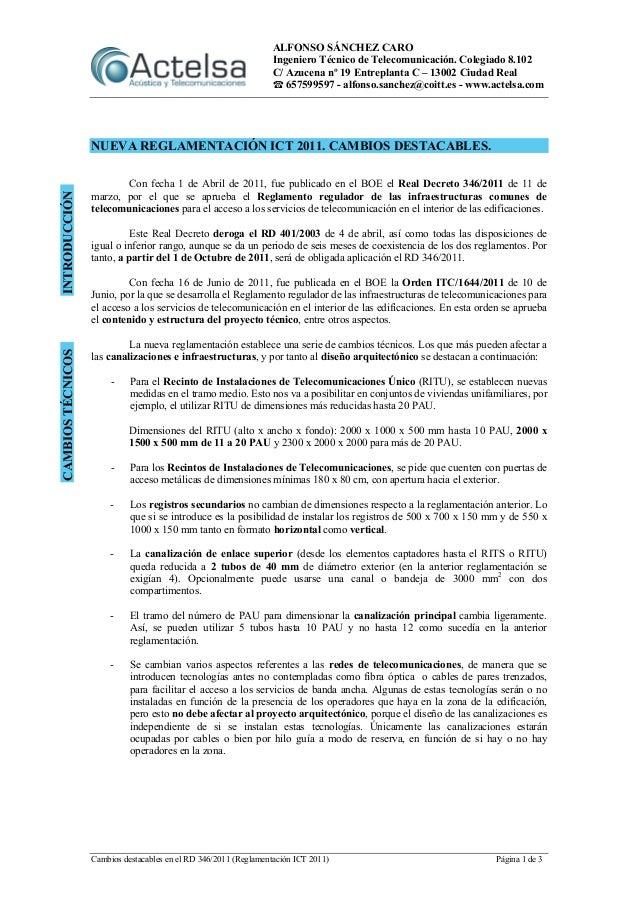 ALFONSO SÁNCHEZ CARO Ingeniero Técnico de Telecomunicación. Colegiado 8.102 C/ Azucena nº 19 Entreplanta C – 13002 Ciudad ...