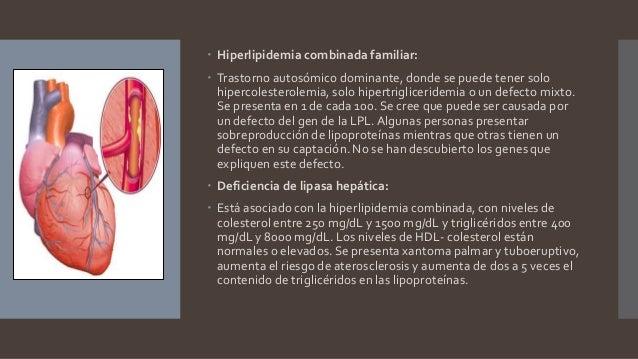  Hiperlipidemia combinada familiar:  Trastorno autosómico dominante, donde se puede tener solo hipercolesterolemia, solo...