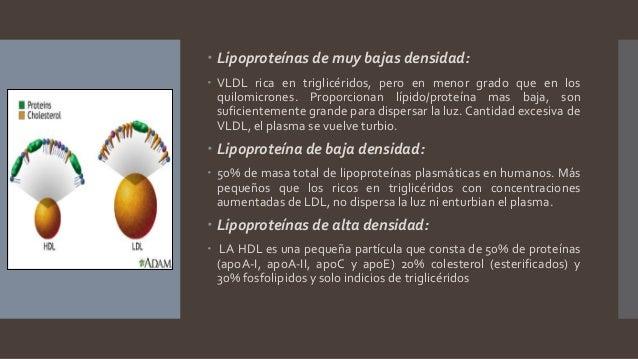  Lipoproteínas de muy bajas densidad:  VLDL rica en triglicéridos, pero en menor grado que en los quilomicrones. Proporc...