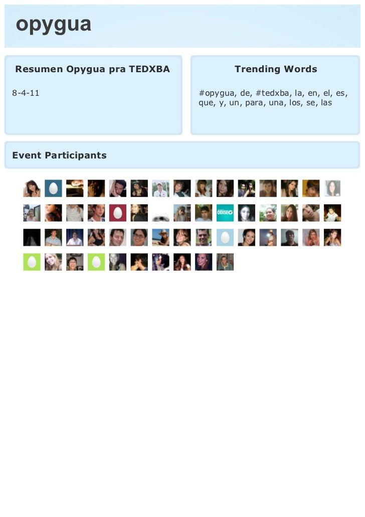 opyguaResumen Opygua pra TEDXBA           Trending Words8-4-11                      #opygua, de, #tedxba, la, en, el, es, ...