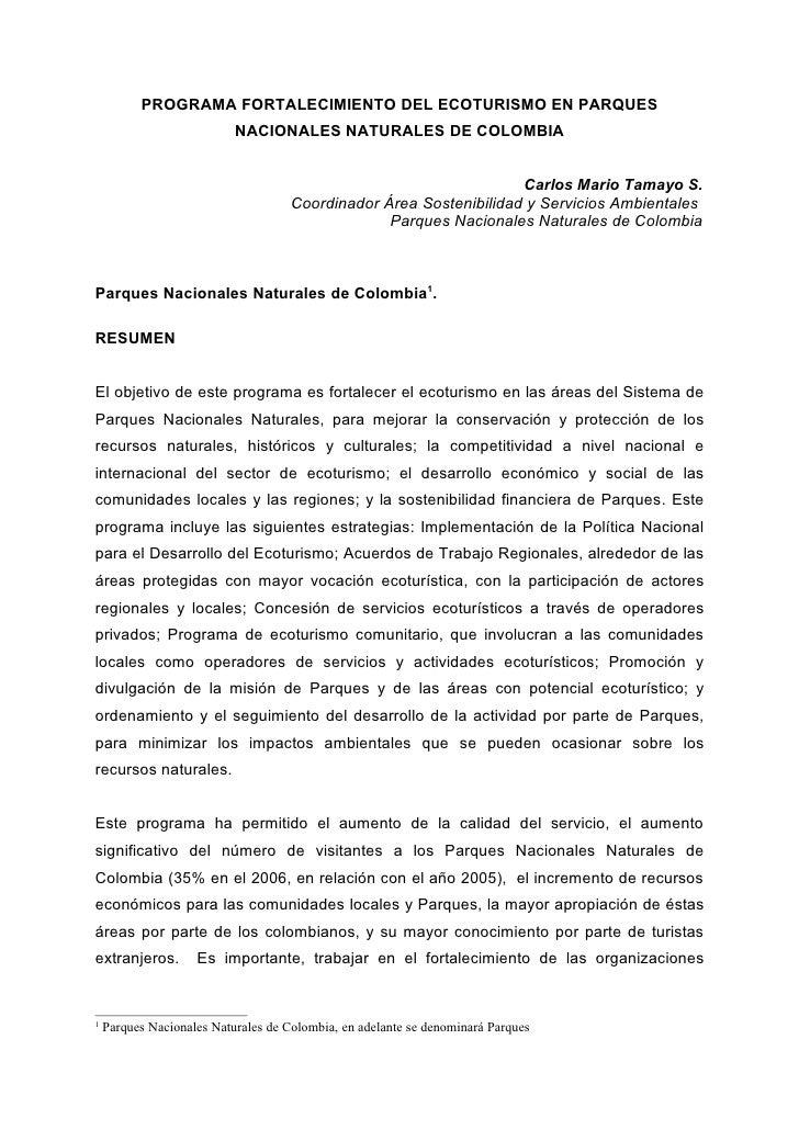 PROGRAMA FORTALECIMIENTO DEL ECOTURISMO EN PARQUES                            NACIONALES NATURALES DE COLOMBIA            ...