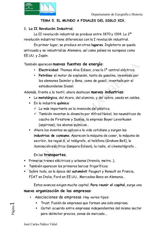 Departamento de Geografía e Historia  TEMA 5. EL MUNDO A FINALES DEL SIGLO XIX.  1. La II Revolución Industrial.  La II re...