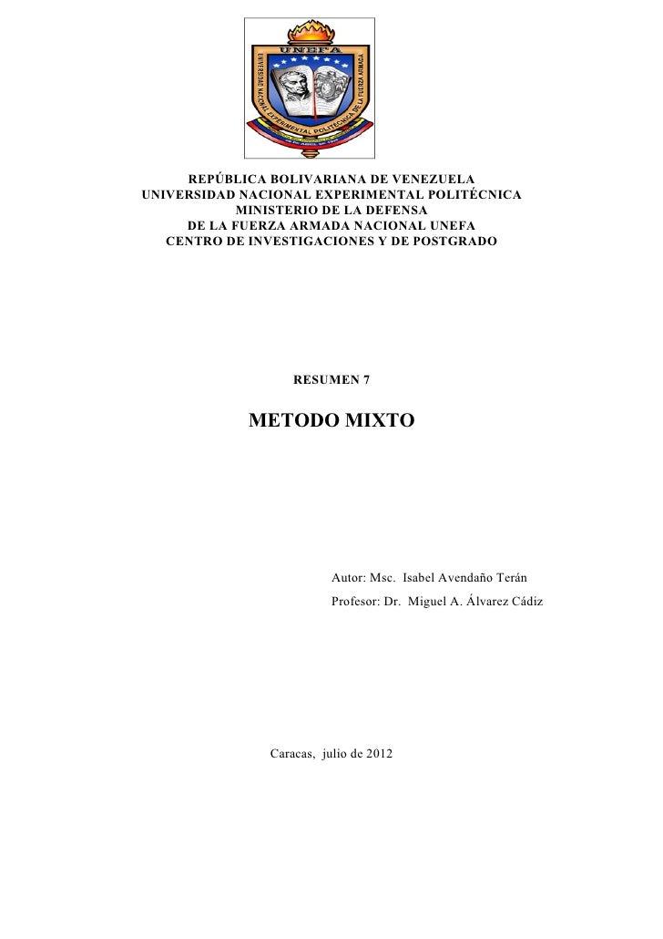 REPÚBLICA BOLIVARIANA DE VENEZUELAUNIVERSIDAD NACIONAL EXPERIMENTAL POLITÉCNICA            MINISTERIO DE LA DEFENSA     DE...