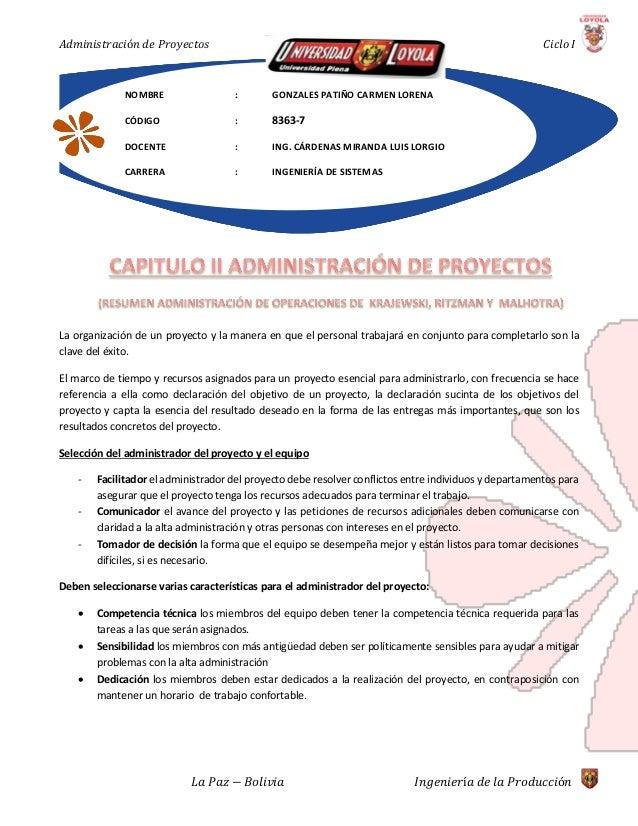 Resumen administración de proyectos
