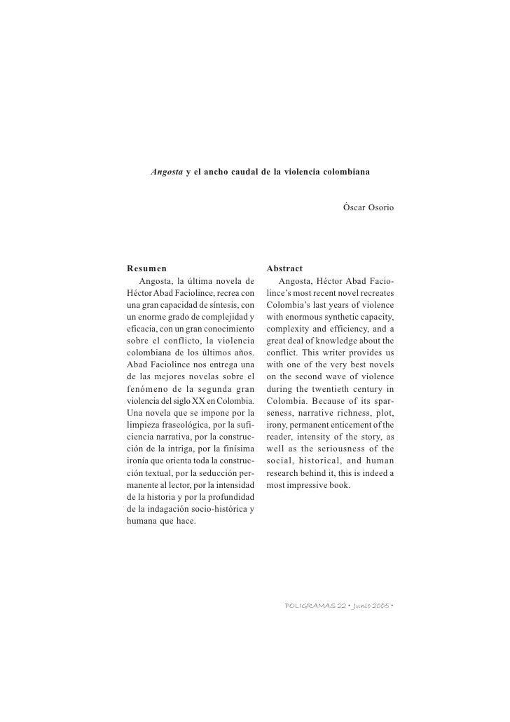 POLIGRAMAS 22 • OCTUBRE DE 2004•         Angosta y el ancho caudal de la violencia colombiana                             ...