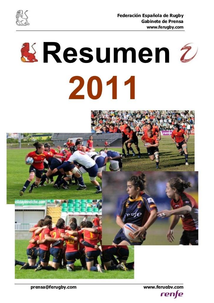 Federación Española de Rugby                               Gabinete de Prensa                                 www.ferugby....