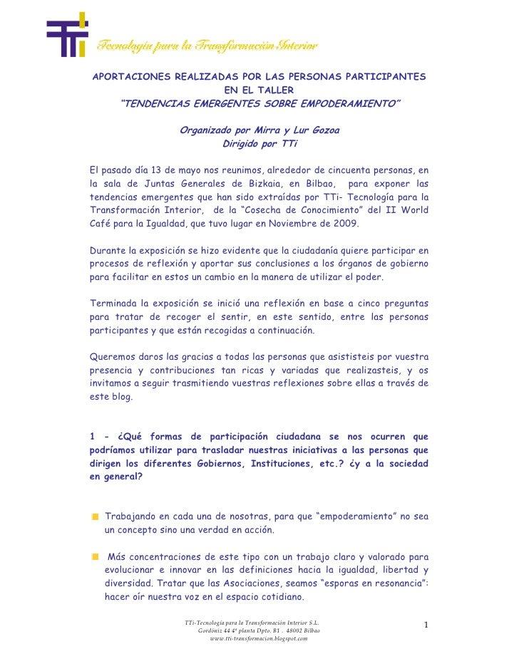 """APORTACIONES REALIZADAS POR LAS PERSONAS PARTICIPANTES                      EN EL TALLER       """"TENDENCIAS EMERGENTES SOBR..."""