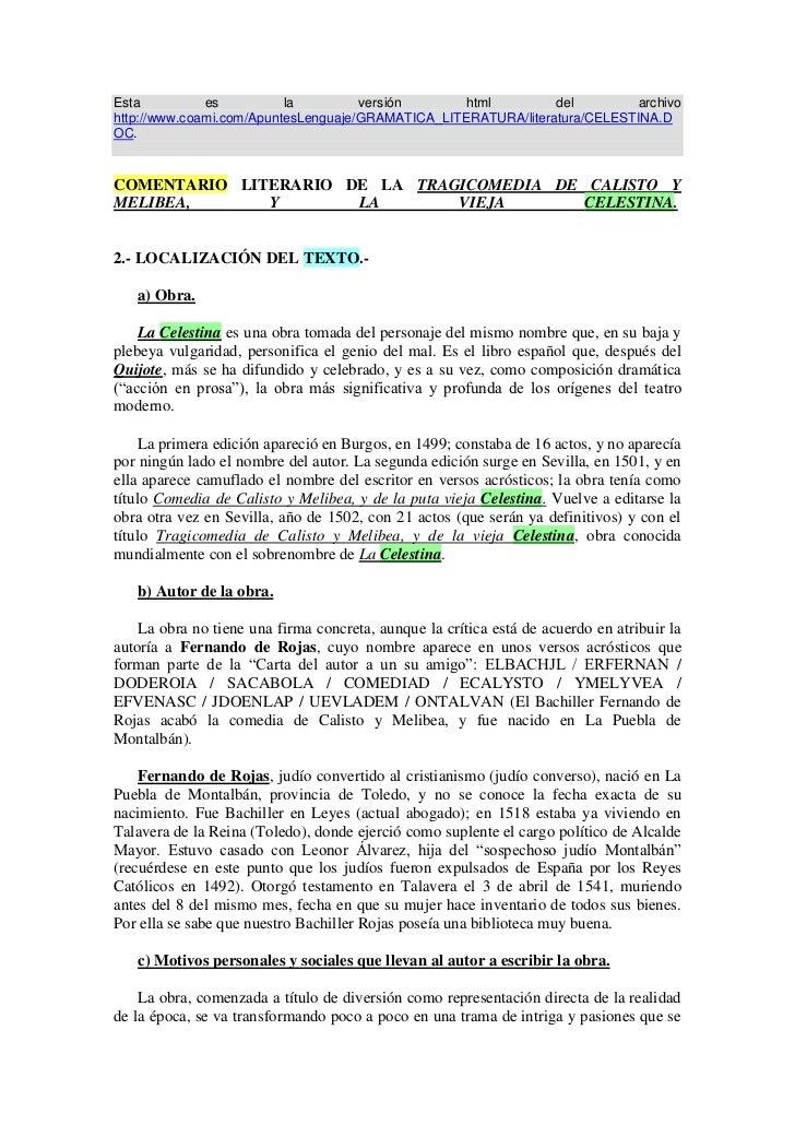 Resumen Aspectos MáS Importantes De La Celestina