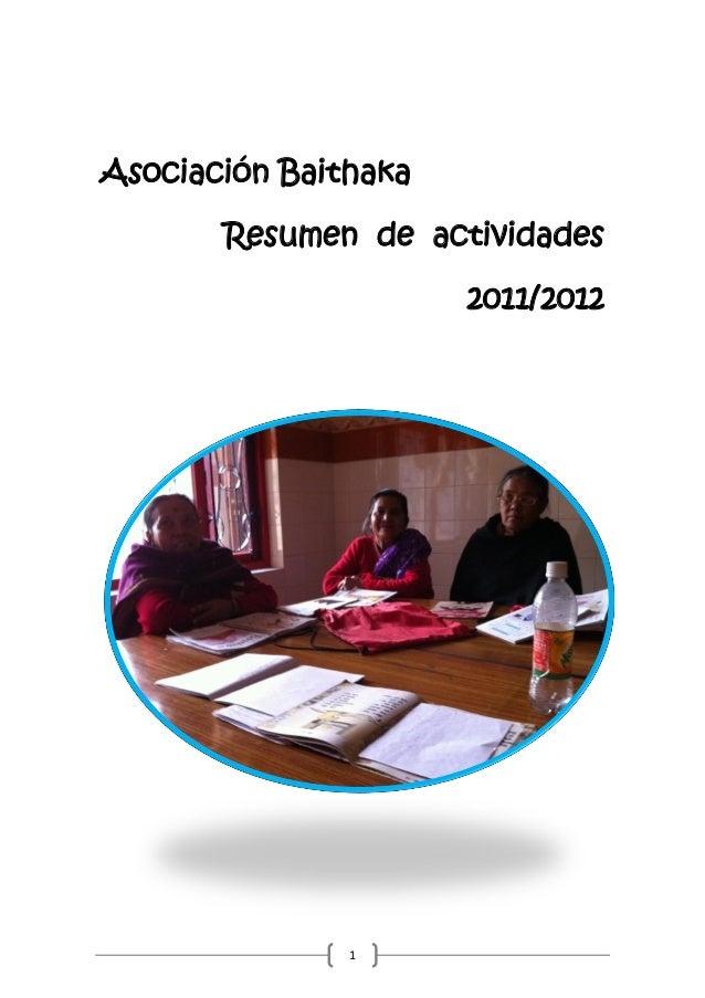 Asociación Baithaka       Resumen de actividades                      2011/2012               1