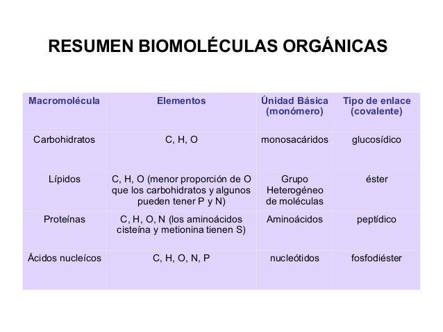 RESUMEN BIOMOLÉCULAS ORGÁNICAS Macromolécula Elementos Únidad Básica (monómero) Tipo de enlace (covalente) Carbohidratos C...