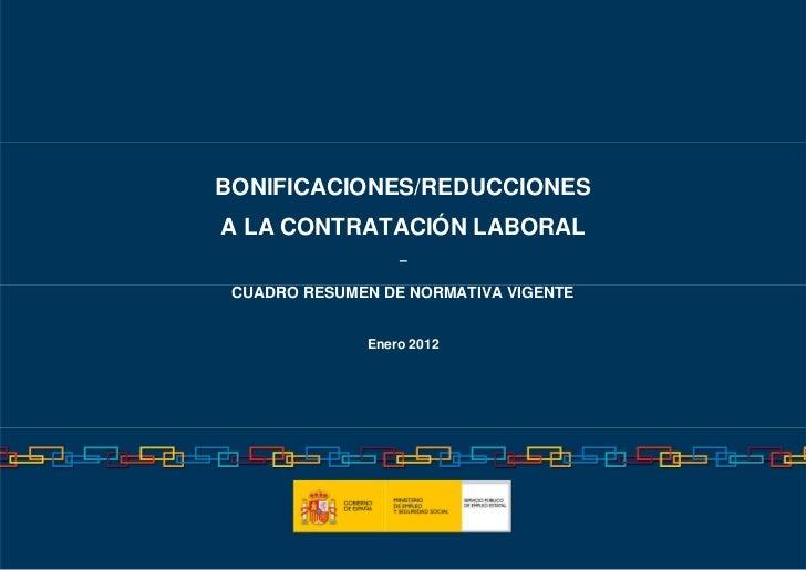 BONIFICACIONES/REDUCCIONESA LA CONTRATACIÓN LABORAL                  – CUADRO RESUMEN DE NORMATIVA VIGENTE              En...