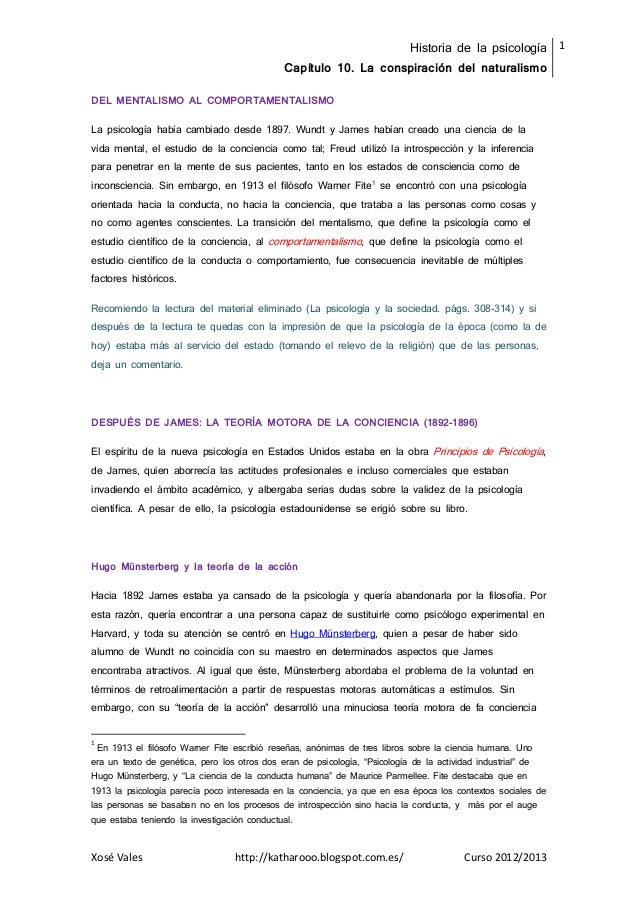 Historia de la psicologíaCapítulo 10. La conspiración del naturalismo1Xosé Vales http://katharooo.blogspot.com.es/ Curso 2...