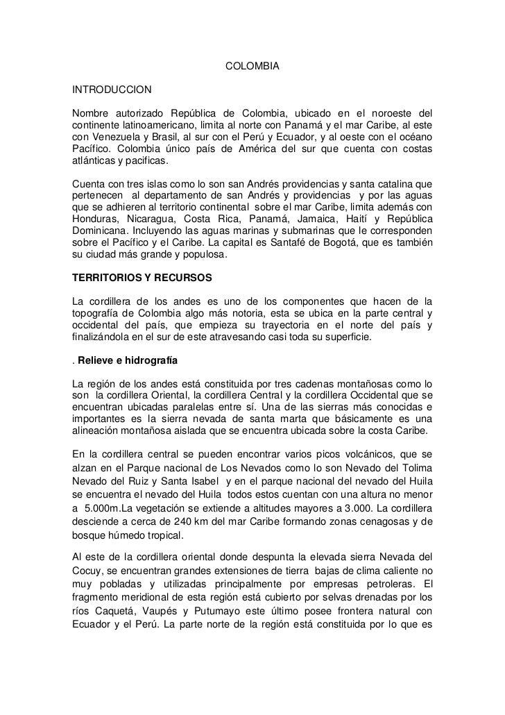 COLOMBIA<br />INTRODUCCION<br />Nombre autorizado República de Colombia, ubicado en el noroeste del continente latinoameri...
