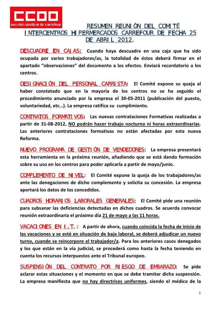RESUMEN REUNIÓN DEL COMITÉ    INTERCENTROS HIPERMERCADOS CARREFOUR DE FECHA 25                     DE ABRIL 2012.DESCUADRE...