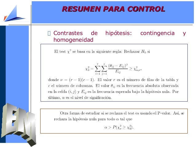 Contrastes de hipótesis: contingencia yhomogeneidadRESUMEN PARA CONTROLRESUMEN PARA CONTROL