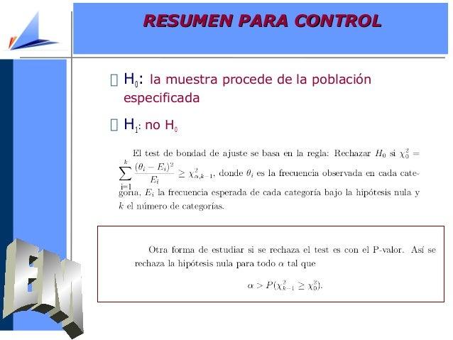 H0: la muestra procede de la poblaciónespecificadaH1: no H0i=1RESUMEN PARA CONTROLRESUMEN PARA CONTROL