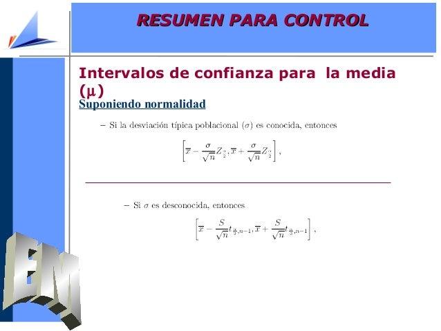 Intervalos de confianza para la media(µ)Suponiendo normalidadRESUMEN PARA CONTROLRESUMEN PARA CONTROL