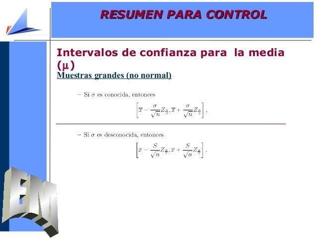 Intervalos de confianza para la media(µ)Muestras grandes (no normal)RESUMEN PARA CONTROLRESUMEN PARA CONTROL