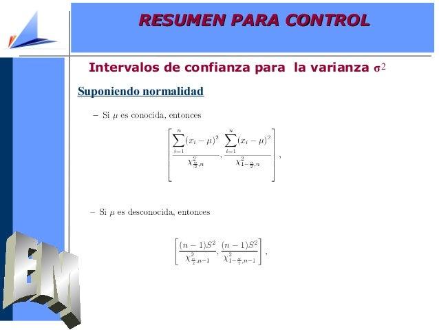 Suponiendo normalidadIntervalos de confianza para la varianza σ2RESUMEN PARA CONTROLRESUMEN PARA CONTROL