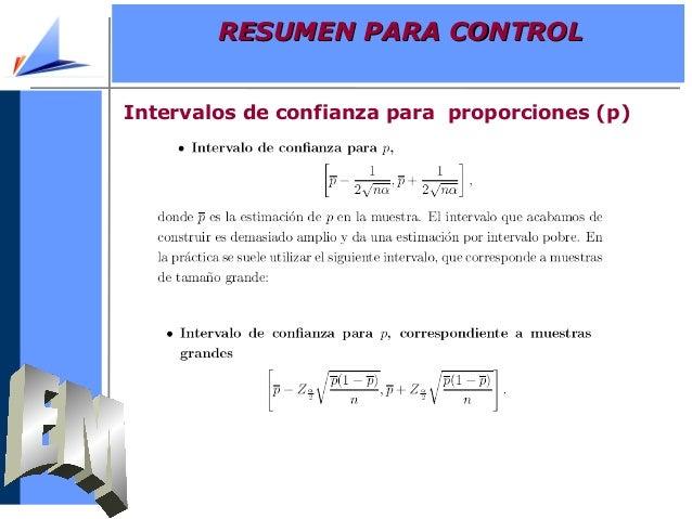 Intervalos de confianza para proporciones (p)RESUMEN PARA CONTROLRESUMEN PARA CONTROL