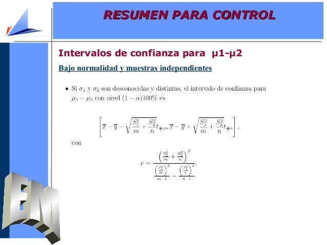 Bajo normalidad y muestras independientesIntervalos de confianza para µ1-µ2RESUMEN PARA CONTROLRESUMEN PARA CONTROL