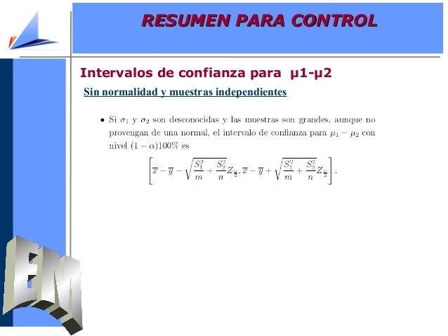Sin normalidad y muestras independientesIntervalos de confianza para µ1-µ2RESUMEN PARA CONTROLRESUMEN PARA CONTROL