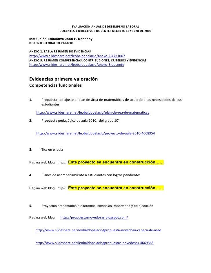 EVALUACIÓNANUALDEDESEMPEÑOLABORAL<br />DOCENTESYDIRECTIVOSDOCENTESDECRETOLEY1278DE2002<br />Institución Educat...