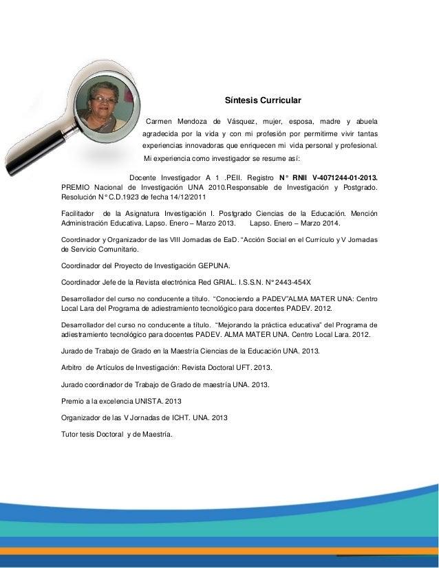 Síntesis Curricular Carmen Mendoza