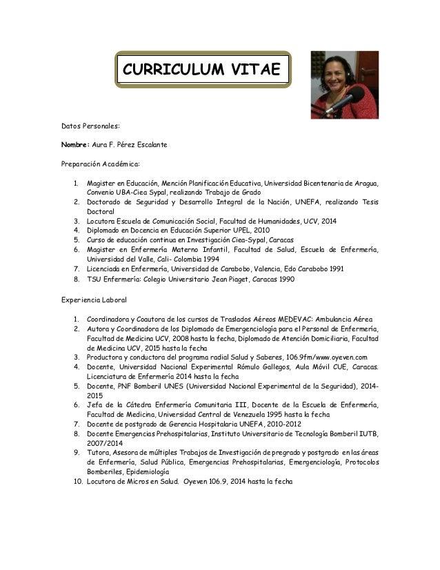 Resumen Curriculum Vitae Dra Aura Perez
