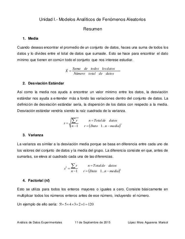 Análisis de Datos Experimentales 11 de Septiembre de 2015 López Mora Aguarena Marisol Unidad I.- Modelos Analíticos de Fen...