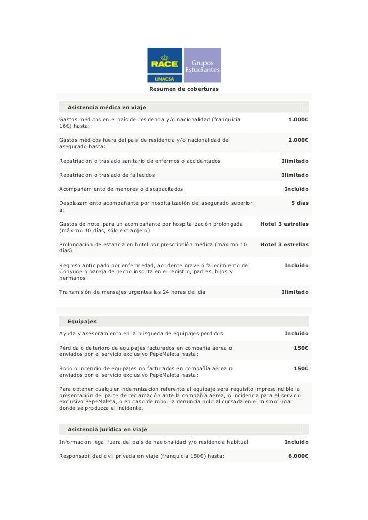 Resumen de coberturas   Asistencia médica en viajeGastos médicos en el país de residencia y/o nacionalidad (franquicia    ...