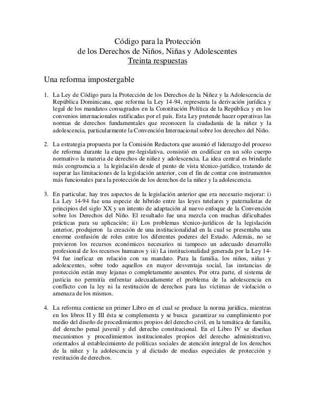 Código para la Protección             de los Derechos de Niños, Niñas y Adolescentes                           Treinta res...