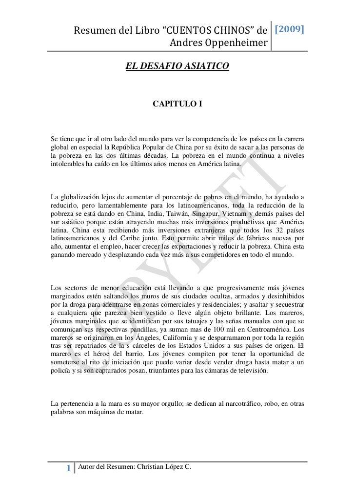 """Resumen del Libro """"CUENTOS CHINOS"""" de [2009]                             Andres Oppenheimer                          EL DE..."""